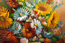 Close Of Fragment Of Vintage Oil Painting Depicting Still Life Of Flowers In Vase. Macro Impasto Painting.