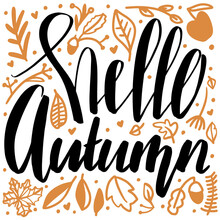 Hello Autumn Lettering Phrase With Doodle Decoration Leaves Elements. Isolated Vector Calligraphy