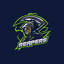 Reaper Mascot Logo Design Vector With Modern Illustration Concept Style. Reaper Illustration For Sport And Esport Team.