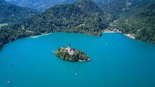 Church On Lake Blake Island In Slovenia