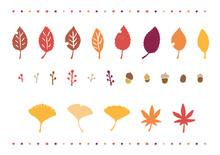 秋 紅葉 落ち葉 イラスト アイコン セット 鉛筆タッチ
