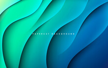Blue And Green Gradient Background Dynamic Wavy Light And Shadow