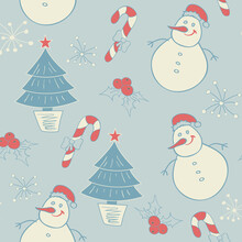 Simple Christmas Seamless Pattern With Geometric Motifs. Snowflakes And Circles With Different Ornaments. Retro Textile Collection. On Background