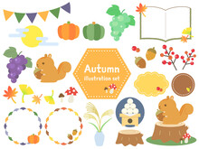 かわいい 秋の素材 セット デザインフレーム 枠