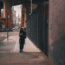 Person Walking On The Street Phone New York Brooklyn  Winter