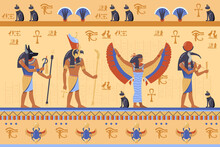 Egyptian Deities On Ancient Bas Relief With Hieroglyphs