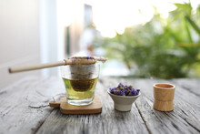 Forget Me Not Flower Tea With Old Style Tea Infuser