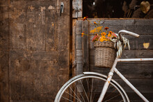 Vintage Bicycle Leaning On Wooden Wall Of Old Atmospheric Country House On Beautiful Autumn Day