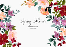 Colorful Watercolor Spring Flower Background