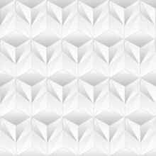 Abstract White Triangular Background. Extruded Triangle Tiles. Interior Design Concept. 3d Render Illustration. Geometry Pattern. Random Cells. Polygonal Plaster Surface.