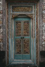 Wooden Door In The Balinesse Street