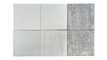Various Texture Of Concrete Ceramic Tile Samples Palette Isolated On White Background With Clipping Path. Top View Of Tile In Square Shape Samples (palette Or Catalog) For Selection.
