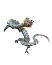 3D Rendering Of A Long Bodied Dragon From Chinese Folklore Isolated On A White Background.
