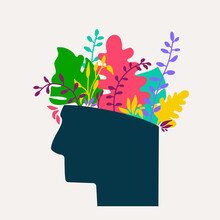 Mental Health Concept. Abstract Image Of Head With Flowers Inside. Plants, Flower And Leaves As A Symbol Of Inspiration, Calmness, Favorable Mental Behavior. Vector Hand Drawing Illustration.