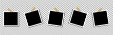 Photo Frame Mockup Design. Vector Set Photo Frame On Sticky Tape Isolated On Transparent Background. Stock Vector Illustration.