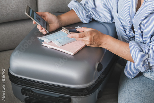 Travel. Online travel plans with Covid passport and Covid test. Traveling after quarantine, lockdown, covid . Staycation.local travel new normal.Tourism after border opening, quarantine end