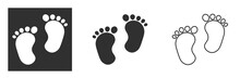 Child Pair Of Footprint Sign Icon. Toddler Barefoot Symbol. Baby's First Steps. Graphic Design Element