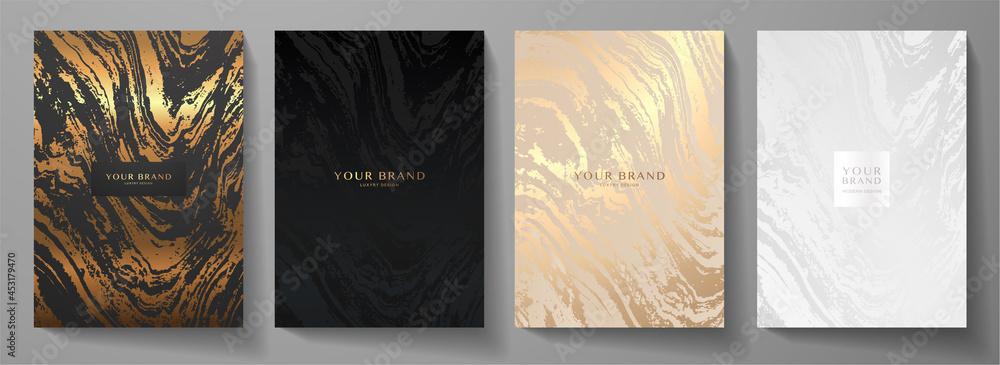 Obraz Modern elegant cover design set. Luxury fashionable background with abstract marble pattern in gold, black, silver color. Elite premium vector template for menu, brochure, flyer layout, presentation fototapeta, plakat