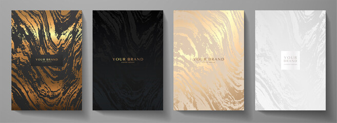 Modern elegant cover design set. Luxury fashionable background with abstract marble pattern in gold, black, silver color. Elite premium vector template for menu, brochure, flyer layout, presentation