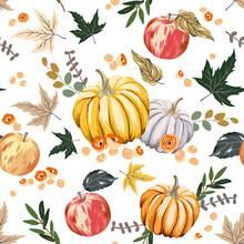 Autumn Pumpkins, Apples, Maple Leaves, White Background. Vector Seamless Pattern. Fall Season Illustration. October Harvest. Organic Vegetable Garden Food. Nature Design