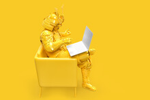 Samurai In Traditional Armor Sitting With Laptop. Technology Concept. 3D Rendering