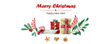 New Year And Christmas Card. Hand Drawn Presents And Plants Texture. Watercolor Christmas Flowers, Boxes And Cookies. Vector