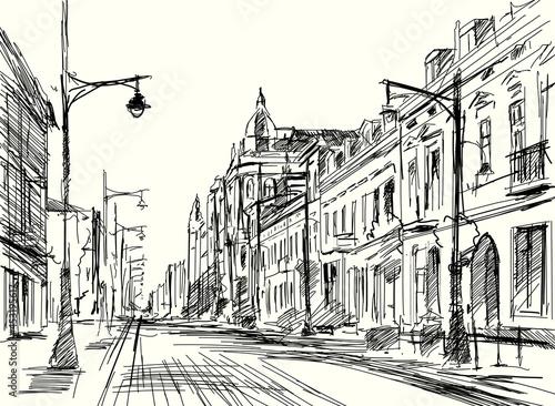 Szkic ulicy Piotrkowskiej w Łodzi. Panorama miasta Łódź