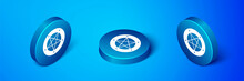 Isometric Pentagram In A Circle Icon Isolated On Blue Background. Magic Occult Star Symbol. Blue Circle Button. Vector
