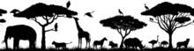 Vector Horizontal Seamless Tropical African Savannah With Lion, Zebra, Vulture, Heron, Common Warthog, Rhinoceros, Cheetah, Monkey, African Ostrich, Elephant, Girrafe,