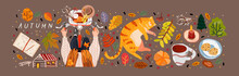 Autumn. Vector Illustration Of Objects: Cat, Autumn  Trees, Leaf, Coffee, Cookies, Candle, Pumpkin  And A Woman On A Bicycle. Drawings For Poster, Card Or Background