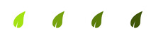 Conjunto De Icono De Hoja De árbol Verde O Planta Curveada. Concepto De Naturaleza. Ilustración Vectorial