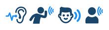Listening, Hearing Icon Set. Vector Illustration