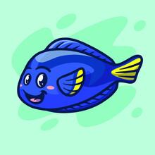 Cute Blue Tang Dory Mascot Illustration Design