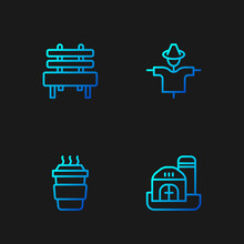 Set Line Farm House, Coffee Cup To Go, Bench And Scarecrow. Gradient Color Icons. Vector