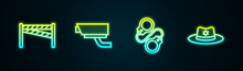 Set Line Crime Scene, Security Camera, Handcuffs And Sheriff Hat With Badge. Glowing Neon Icon. Vector