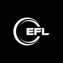 EFL Letter Logo Design With Black Background In Illustrator, Vector Logo Modern Alphabet Font Overlap Style. Calligraphy Designs For Logo, Poster, Invitation, Etc.
