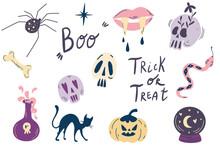Halloween Elements. Big Witch Magic Design Elements Collection. Cute Hand Drawn, Doodle, Sketch Magician Set. Skulls, Snake, Inscriptions, Spider, Potion, Cat, Pumpkin. Vector Illustration