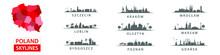 Collection Of Polish Skylines, Big Cities In Poland, Eastern Europe, Szczecin, Krakow, Wroclaw, Lublin, Olsztyn, Warsaw, Bydgoszcz, Poznan, Gdansk