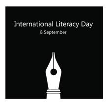 International Literacy Day, 8th September. Pen Logo In Black Background Illustration Vector.