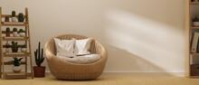 Modern Urban Scandinavian Living Room With Cozy Wicker Round Chair, 3d Rendering