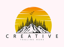 Mountain, Fir Tree And Sunrise Logo Design Template With Moon And Tree Silhouette Landscape Design
