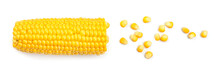 Fresh Cut Corn Cob And Seeds On White Background