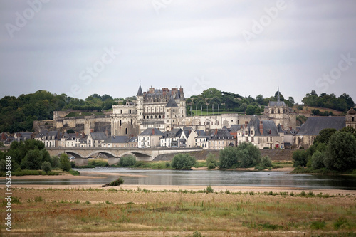 Amboise town on Loire valley on a cloudy day