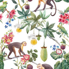 Beautiful Seamless Tropical Floral Pattern With Cute Hand Drawn Watercolor Monkey And Exotic Jungle Flowers. Stock Illustration.