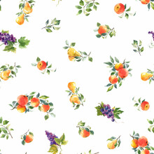 Beautiful Vector Seamless Pattern With Hand Drawn Watercolor Tasty Summer Pear Apple Grape Fruits. Stock Illustration.