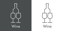 Logotipo Con Texto Wine Con Silueta De Botella De Vino Y 2 Copas De Cristal Con Lineas En Fondo Gris Y Fondo Banco