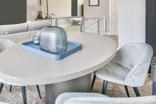 Table With Decorative Vase In Stylish Room