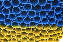 Round, Metal Blue And Yellow Pipes In Section, Background, Wallpaper, Texture, Color
