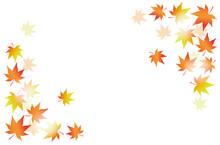 黄色とオレンジの市松模様のグラデーションと紅葉の背景イラスト素材