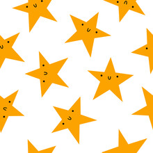 Pattern With Yellow Stars. Seamless Pattern With Yellow Stars On White Background. Cute Funny Cartoon Stars. Vector Illustration.